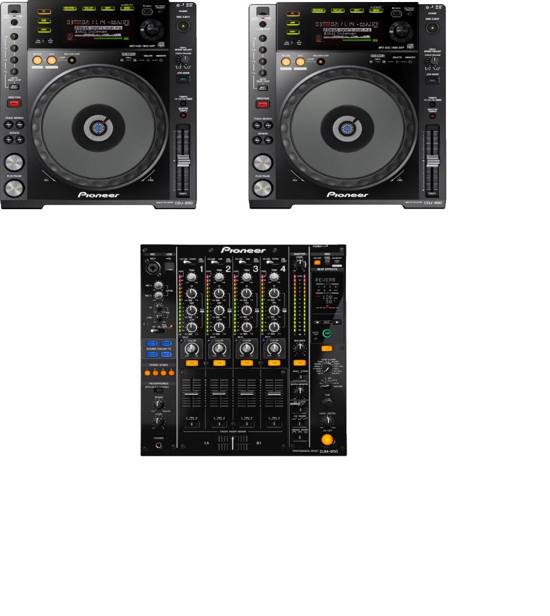 DJ set Pioneer DJM 850 + 2 x CDJ 850